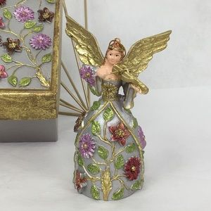 Floral Dress Golden Wing Angel with Box